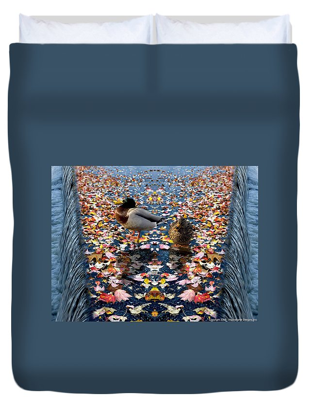 Ducks Duvet Cover featuring the photograph Autumn Ducks by Kelvin Booker