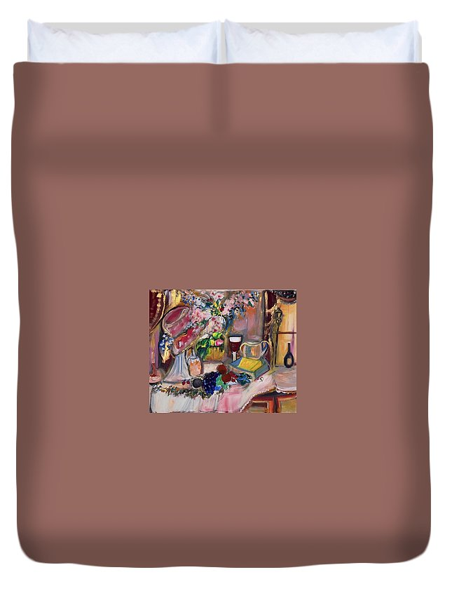 Evening Duvet Cover featuring the painting Autumn Evening by Judith Desrosiers