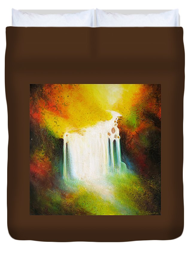 Waterfalls Duvet Cover featuring the painting Autumn Falls by Jaison Cianelli