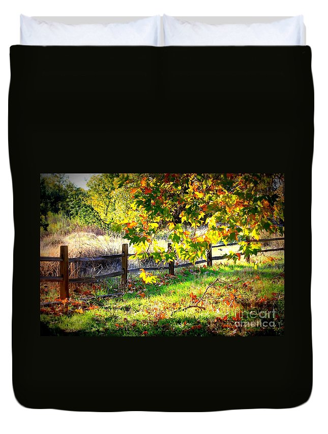 Fences Duvet Cover featuring the photograph Autumn Fence by Carol Groenen