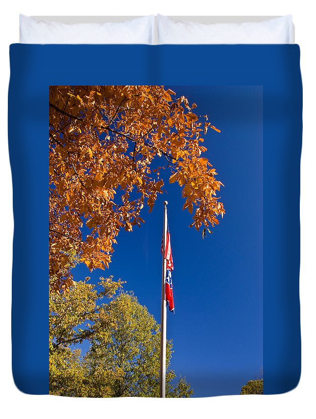 Flag Duvet Cover featuring the photograph Autumn Flag by Douglas Barnett