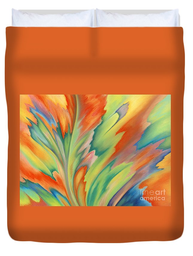 Abstract Duvet Cover featuring the painting Autumn Flame by Lucy Arnold