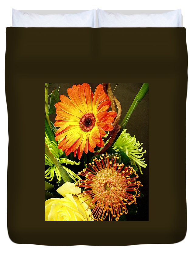 Autumn Duvet Cover featuring the photograph Autumn Flower Arrangement by Nancy Mueller