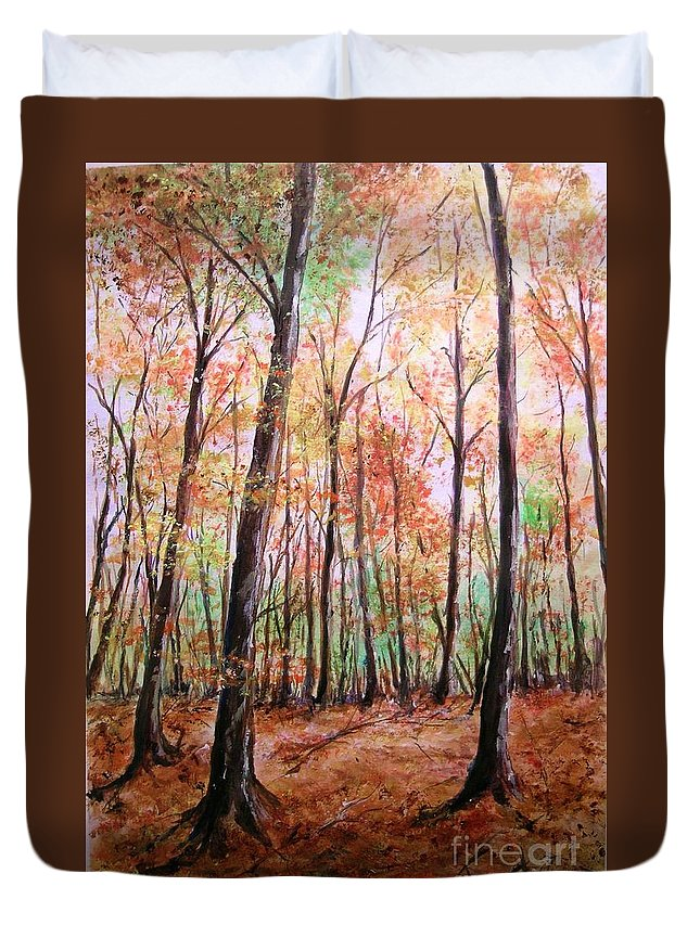 Landscape Duvet Cover featuring the painting Autumn Forrest by Lizzy Forrester