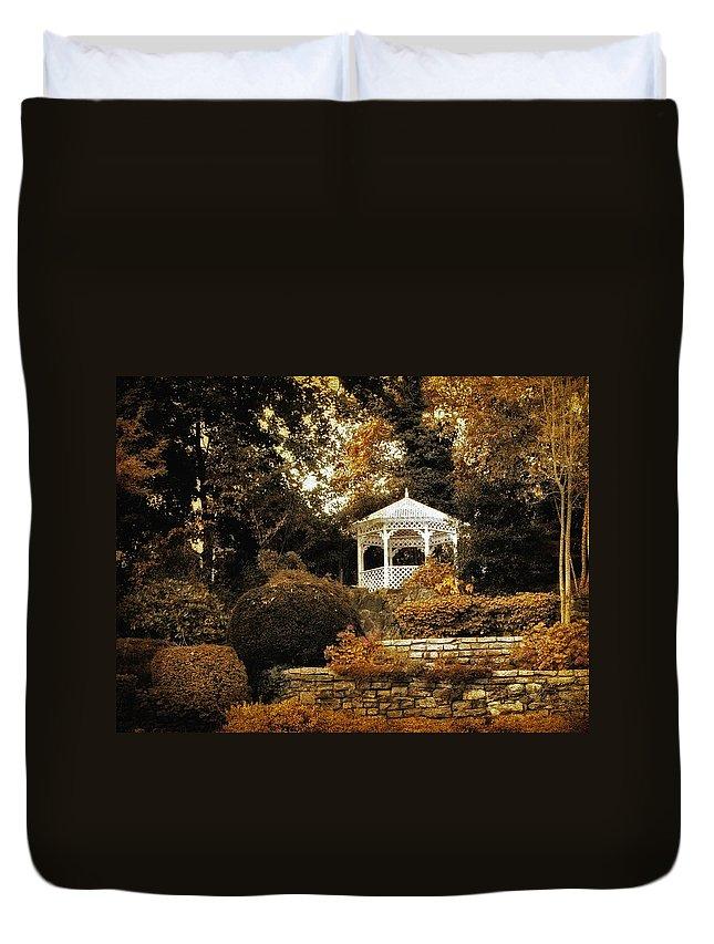 Gazebo Duvet Cover featuring the photograph Autumn Gazebo by Jessica Jenney