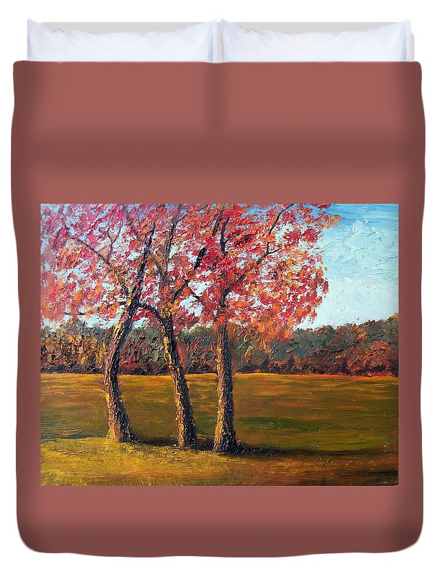 Landscape Duvet Cover featuring the painting Autumn Glow by Tami Booher