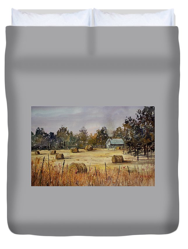 Paintings Duvet Cover featuring the painting Autumn Gold by Ryan Radke