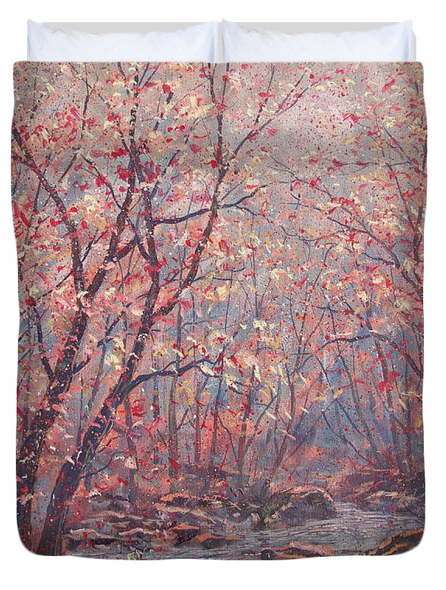 Landscape Duvet Cover featuring the painting Autumn Harmony. by Leonard Holland