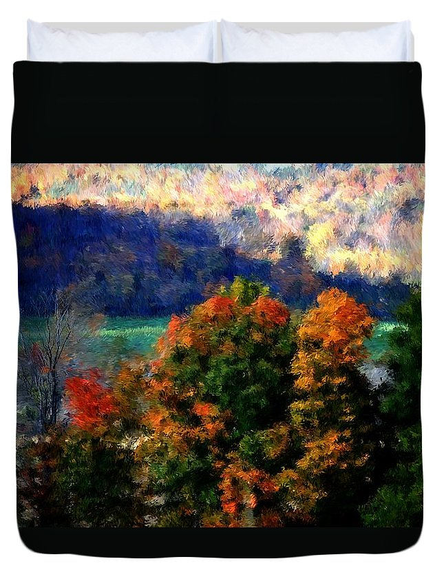 Digital Photograph Duvet Cover featuring the photograph Autumn Hedgerow by David Lane