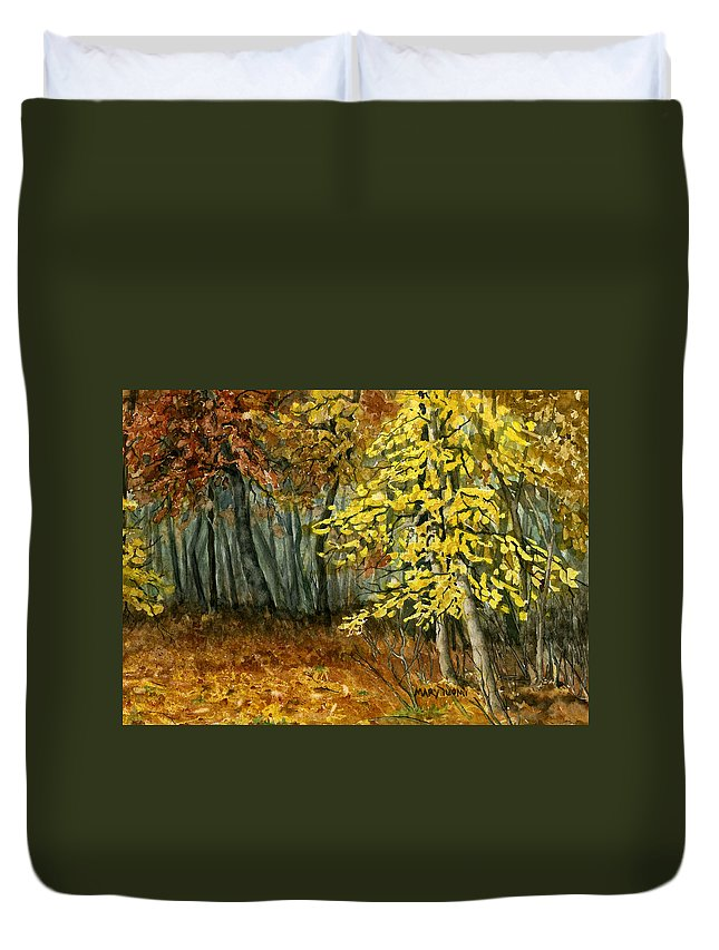 Landscape Duvet Cover featuring the painting Autumn Hollow I by Mary Tuomi