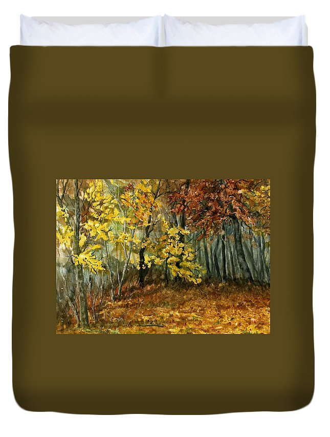 Landscape Duvet Cover featuring the painting Autumn Hollow II by Mary Tuomi