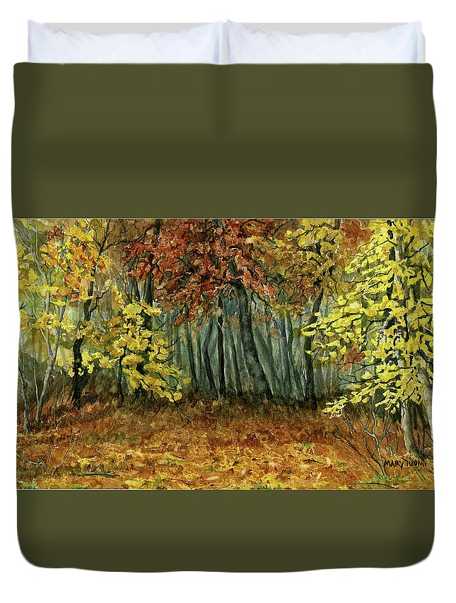 Autumn Duvet Cover featuring the painting Autumn Hollow by Mary Tuomi