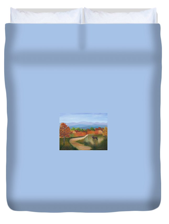 Mountains Duvet Cover featuring the painting Autumn In Blue Ridge Mountains Virginia by Ruth Housley