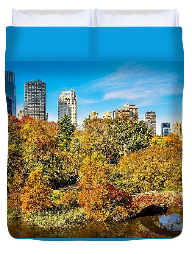 New York City Duvet Cover featuring the photograph Autumn In Central Park 2 by Kenneth Laurence Neal