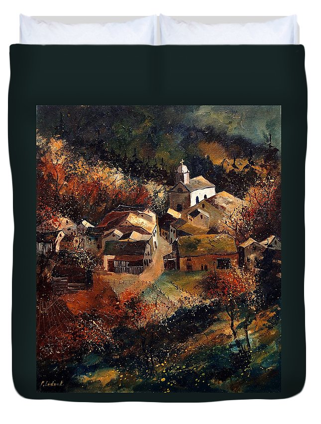 Tree Duvet Cover featuring the painting Autumn In Frahan by Pol Ledent