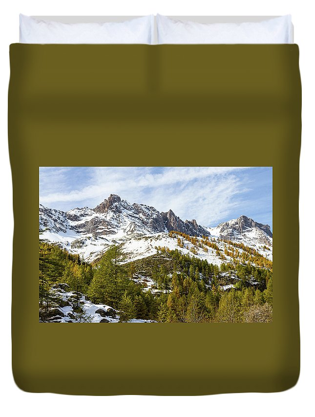 Mountain Landscape Duvet Cover featuring the photograph Autumn In French Alps - 18 by Paul MAURICE