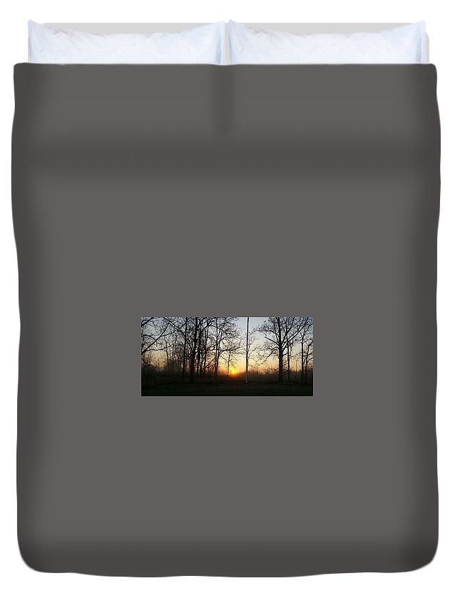November Morn Duvet Cover featuring the photograph Autumn In Michigan by Mark Minier