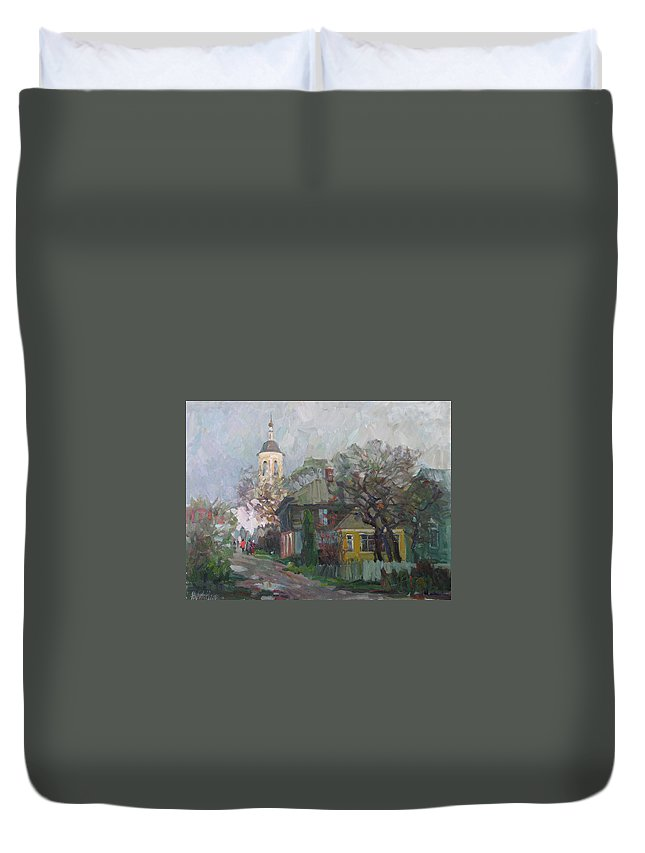 Church Duvet Cover featuring the painting Autumn In Old City by Juliya Zhukova