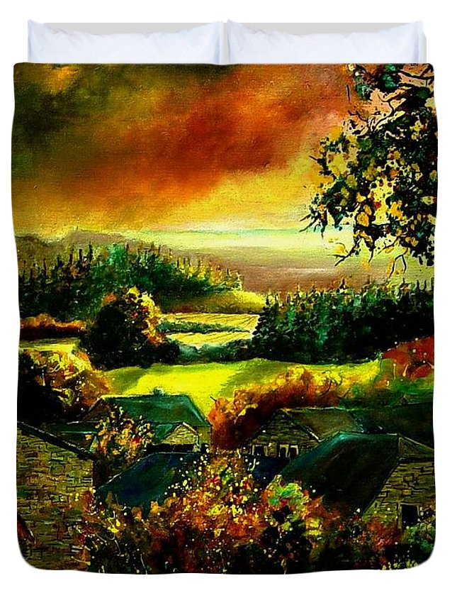 Landscape Duvet Cover featuring the painting Autumn In Our Village Ardennes by Pol Ledent