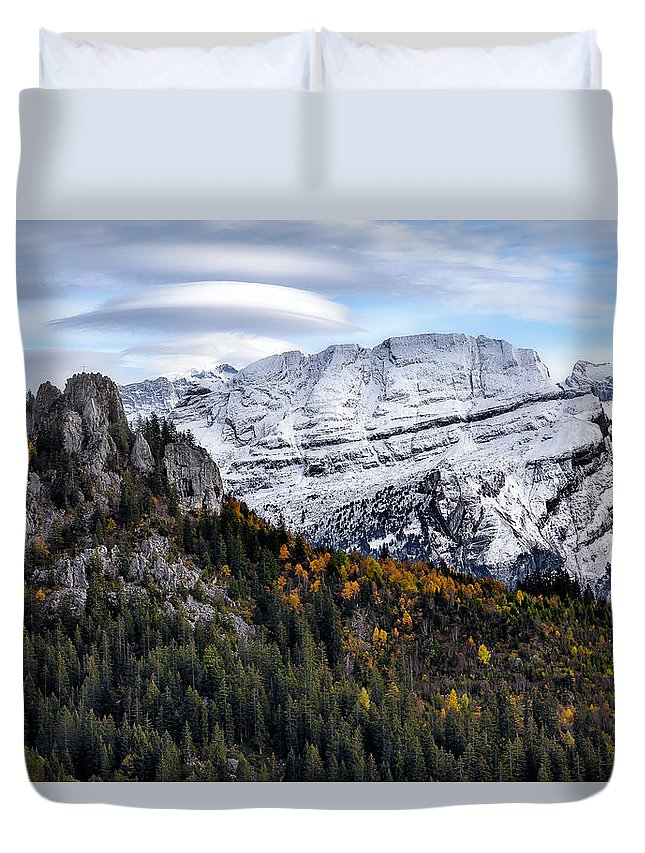 Mountians Duvet Cover featuring the photograph Autumn In Switzerland by Nedjat Nuhi