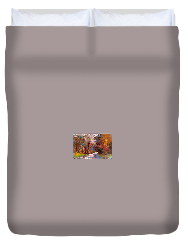 Painting Duvet Cover featuring the painting Autumn In The Forest by Biagio Chiesi