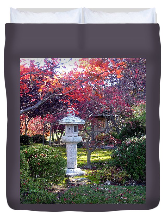 Japanese Garden Duvet Cover featuring the photograph Autumn in the Japanese Garden by John Lautermilch