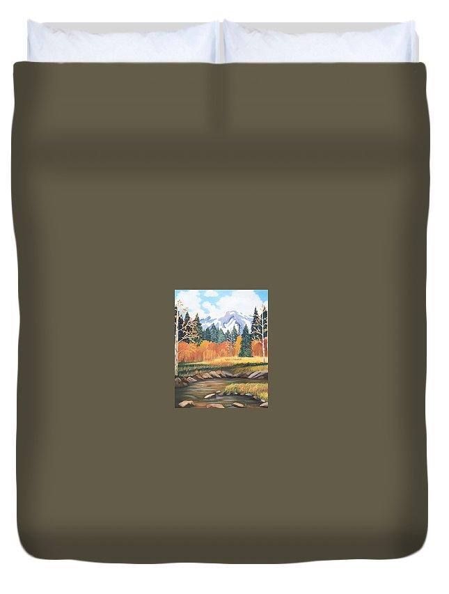 Landscape Duvet Cover featuring the painting Autumn In The Mountans by Ruth Housley