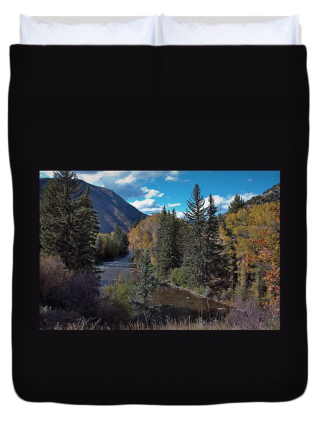 America Duvet Cover featuring the photograph Autumn In The Rockies by Joan Carroll