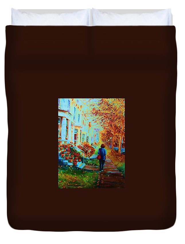 Montreal Duvet Cover featuring the painting Autumn In Westmount by Carole Spandau