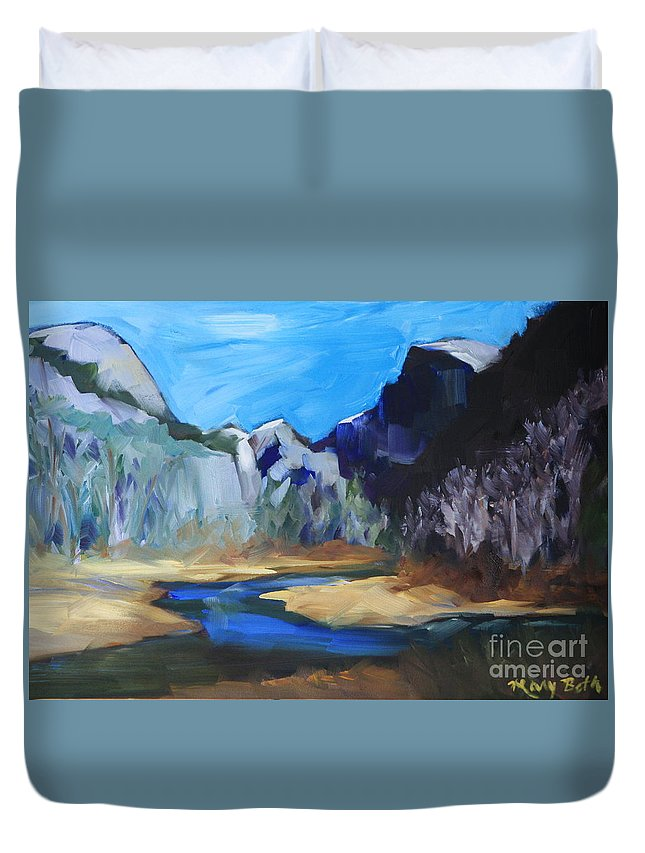 Yosemite Duvet Cover featuring the painting Autumn In Yosemite by Mary Beth Harrison