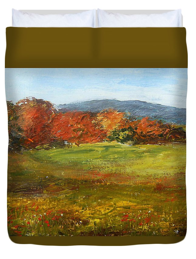 Landscape Duvet Cover featuring the painting Autumn Is Here by Tami Booher