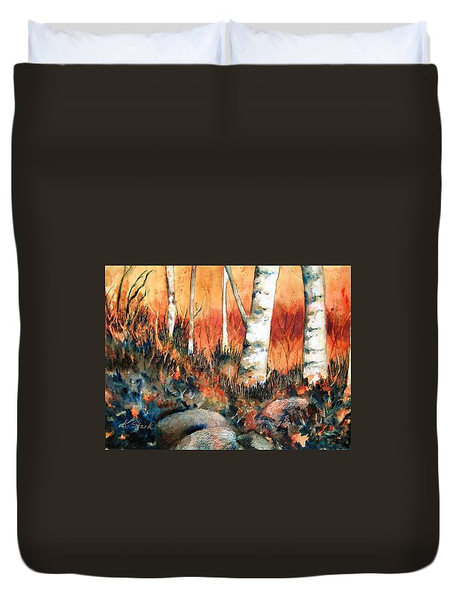 Landscape Duvet Cover featuring the painting Autumn by Karen Stark
