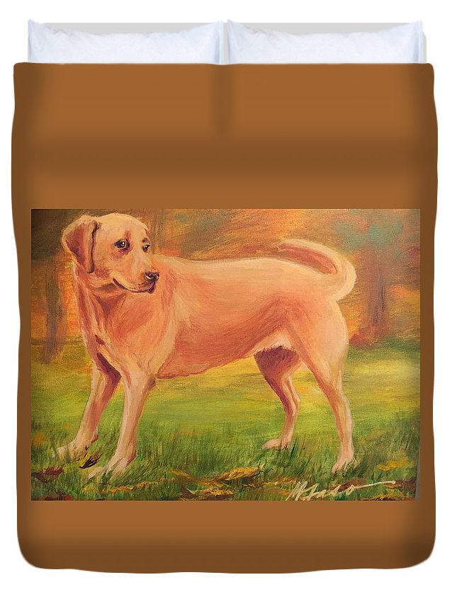 Labrador Duvet Cover featuring the painting Autumn Lab by Marietta Faso