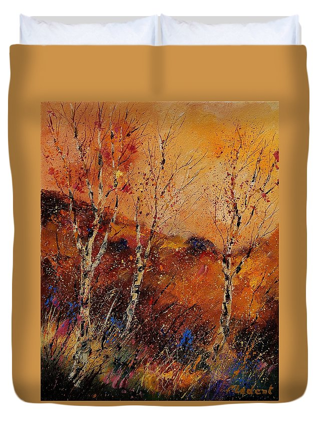 Tree Duvet Cover featuring the painting Autumn Landscape 45 by Pol Ledent