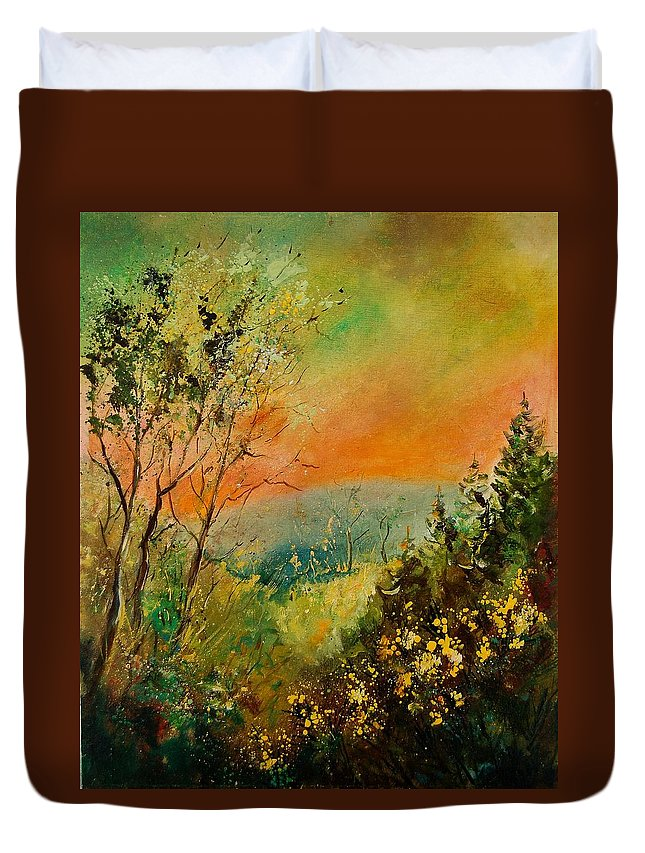 Tree Duvet Cover featuring the painting Autumn Landscape 5698 by Pol Ledent