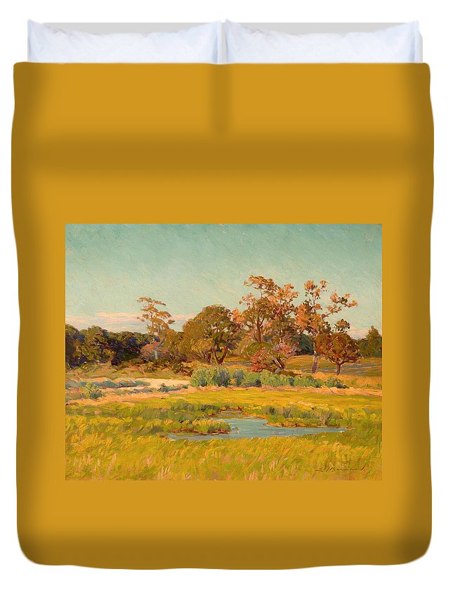 Painting Duvet Cover featuring the painting Autumn Landscape by Mountain Dreams