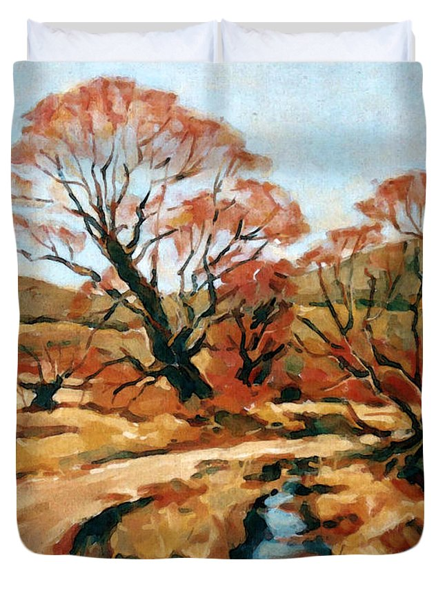 Landscape Duvet Cover featuring the painting Autumn Landscape by Iliyan Bozhanov