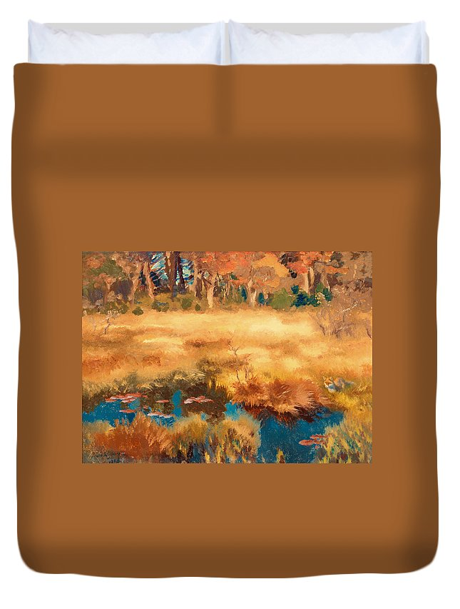 Painting Duvet Cover featuring the painting Autumn Landscape With Fox by Mountain Dreams