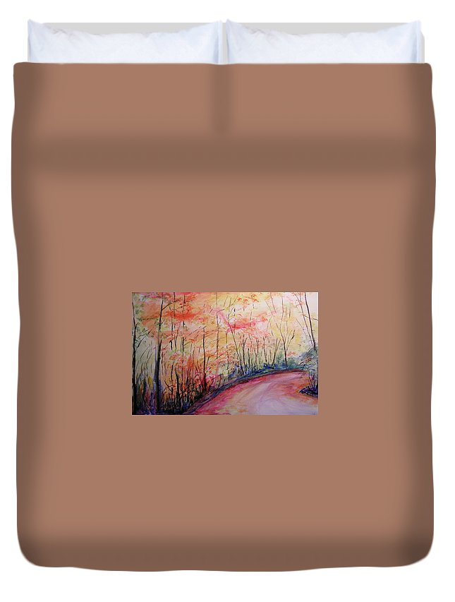 Landsape Duvet Cover featuring the painting Autumn Lane II by Lizzy Forrester