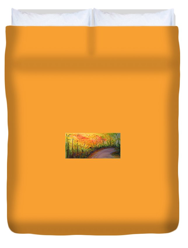 Original Landscape Impressionist Painting Duvet Cover featuring the painting Autumn Lane IIi by Lizzy Forrester