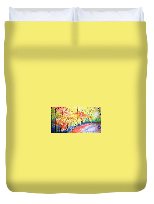 Autumn Duvet Cover featuring the painting Autumn Lane Iv by Lizzy Forrester