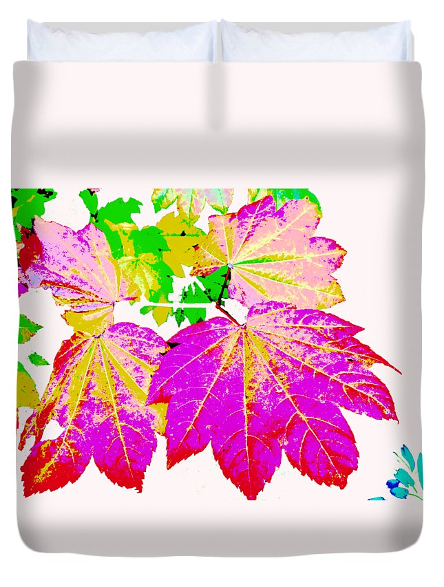 Abstract Duvet Cover featuring the photograph Autumn Leaves Holiday Style by Kathy Moll