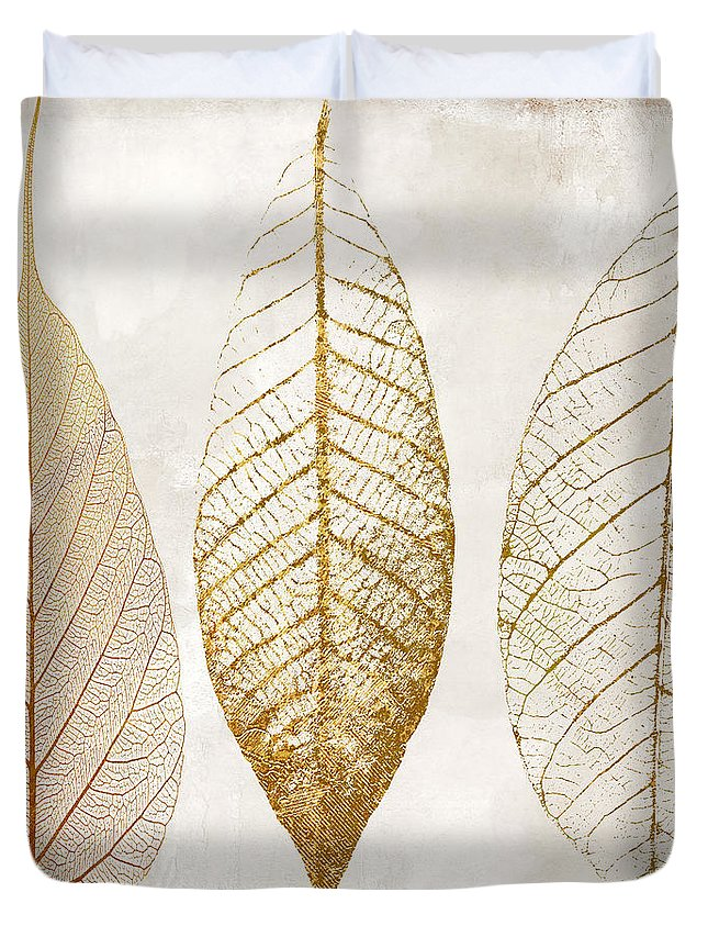 Leaf Duvet Cover featuring the painting Autumn Leaves IIi Fallen Gold by Mindy Sommers