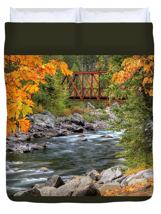 Autumn Duvet Cover featuring the photograph Autumn Leaves Keep Falling by Eggers Photography