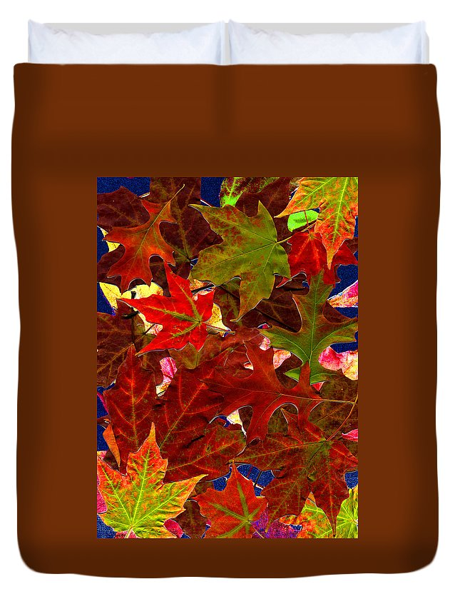 Collage Duvet Cover featuring the photograph Autumn Leaves by Nancy Mueller