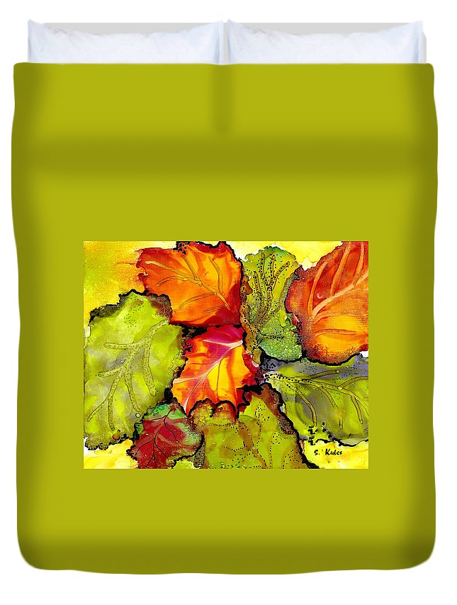 Leaves Duvet Cover featuring the painting Autumn Leaves by Susan Kubes