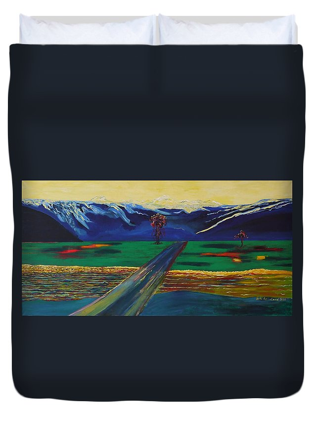 Landscape Duvet Cover featuring the painting Autumn light. by Jarle Rosseland