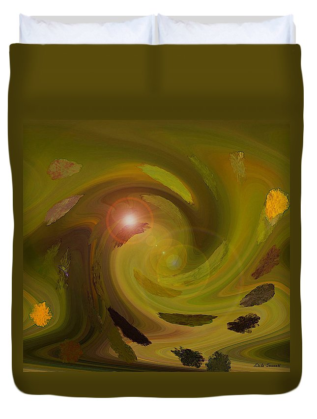Digital Painting Abstract Duvet Cover featuring the digital art Autumn Light by Linda Sannuti