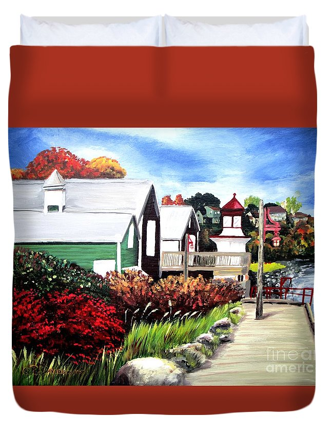 Lighthouse Duvet Cover featuring the painting Autumn Lighthouse Miramichi New Brunswick Canada by Patricia L Davidson