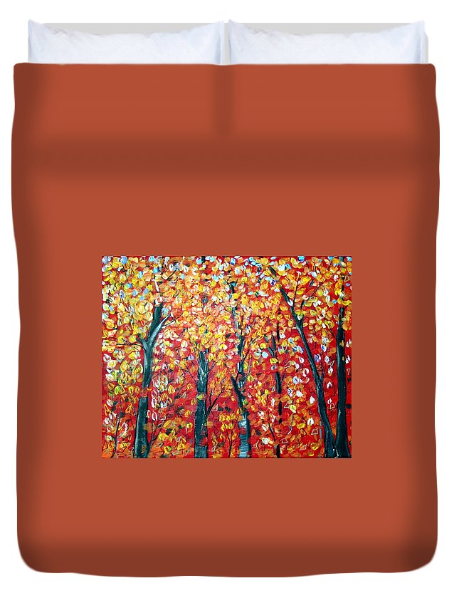 Landscape Duvet Cover featuring the painting Autumn by Luiza Vizoli